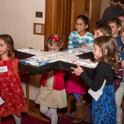 Presenting prayer boxes for Amistad orphanage in Bolivia