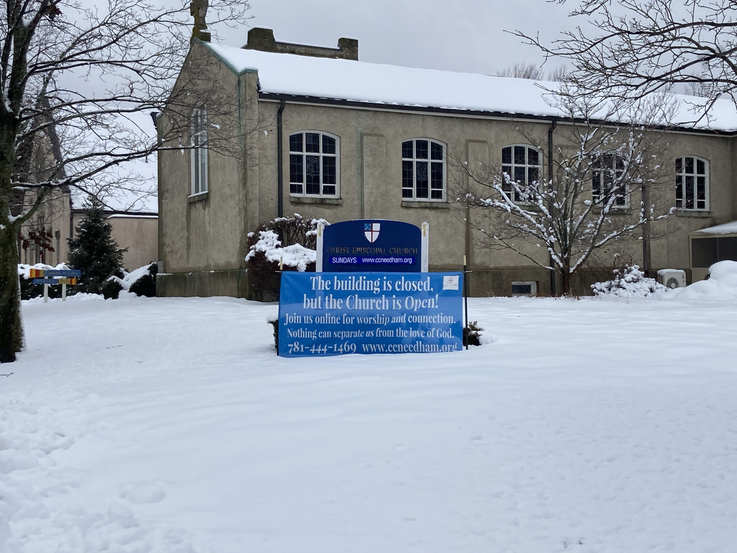 Churh Is Open Sign With Snow